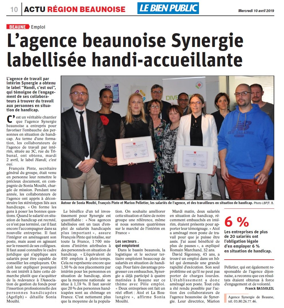 L'agence beaunoise Synergie labellisée